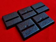 5x 20mm Games Workshop Square slotta straight slotted plastic black Warhammer Wargame Bases
